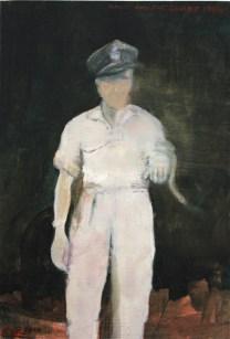Harry with a snake 1944. Oil on Board by Emma Louise Pratt.