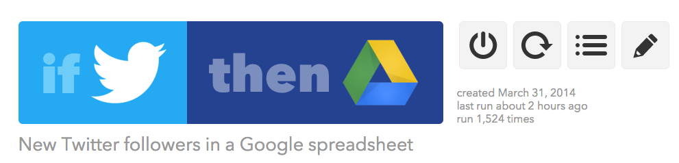 IFTTT recipe to save new twitter followers into a Google spreadsheet