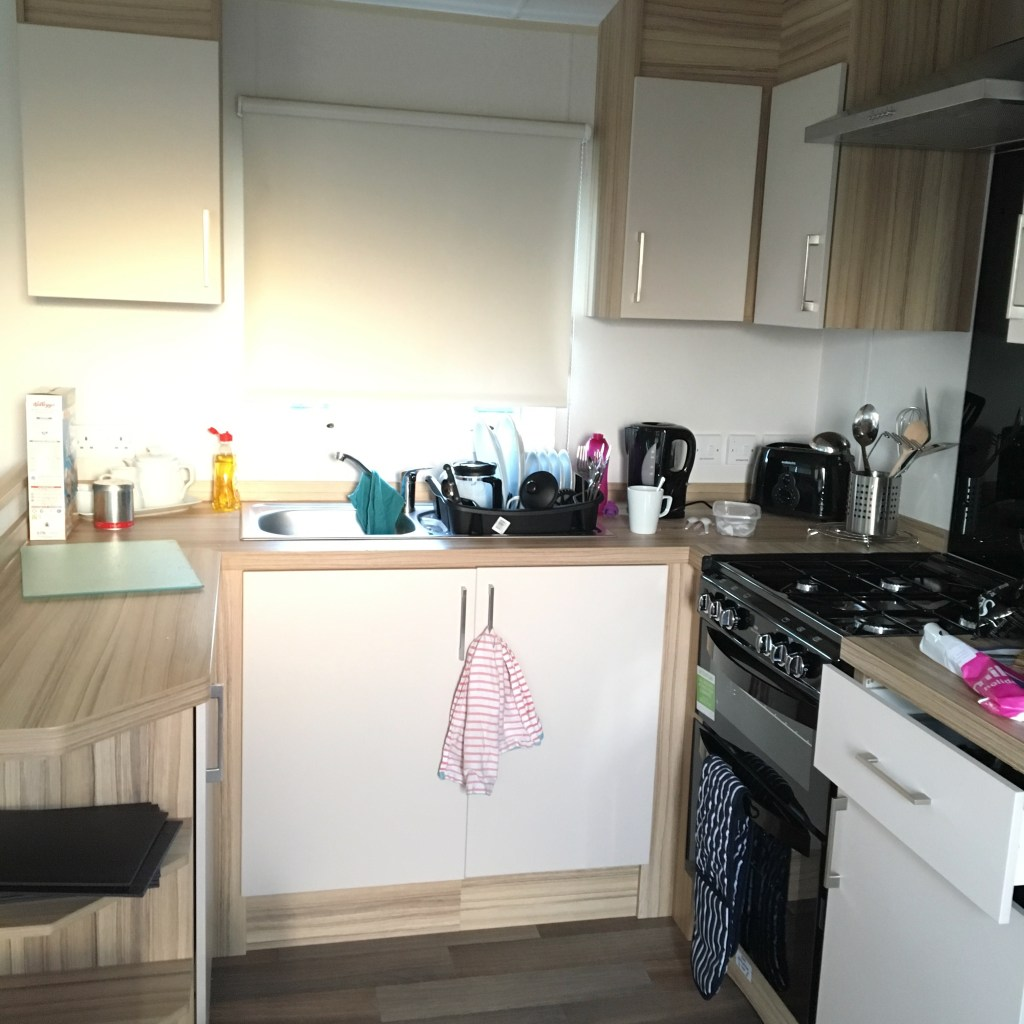 The kitchen in our caravan at Parkdean Ruda holiday park
