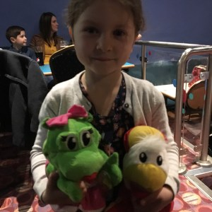 E won the kid's bingo at the Parkdean Ruda holiday park