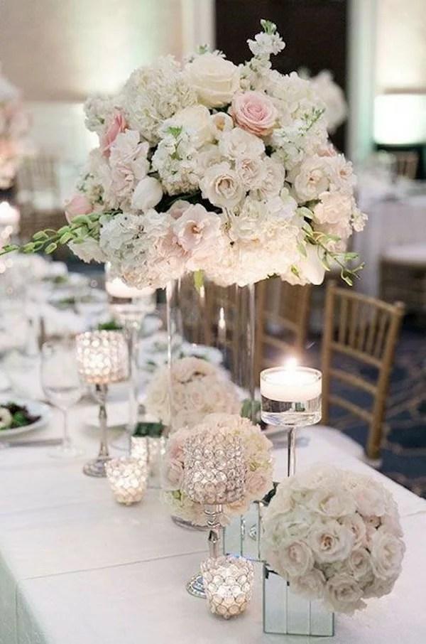 elegant tall wedding centerpiece ideas with blush pink roses  EmmaLovesWeddings