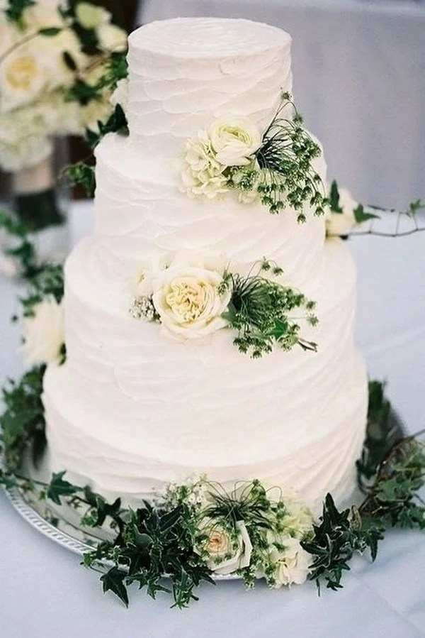 Simple Romantic White Buttercream Wedding Cake With Roses And