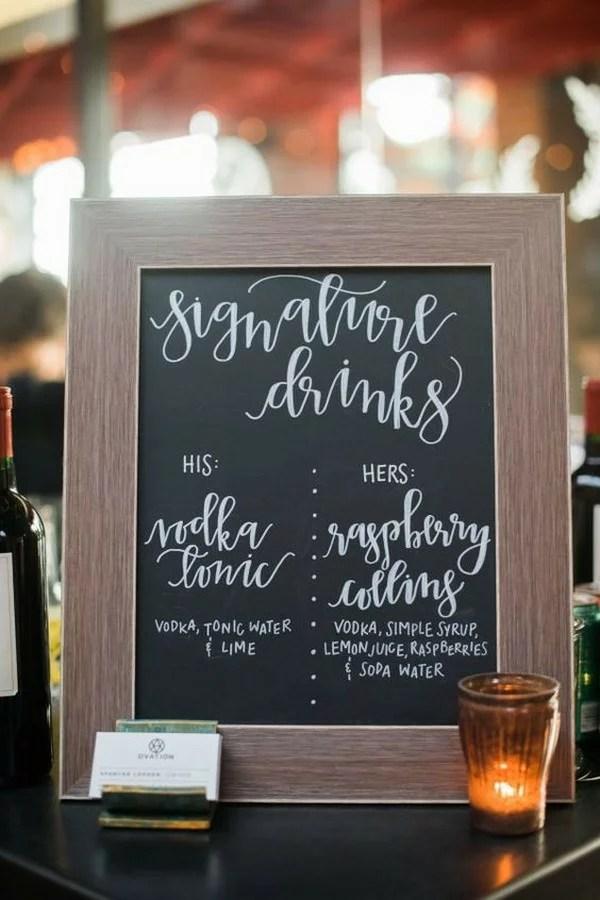18 Brilliant Wedding Drink Station Sign Ideas