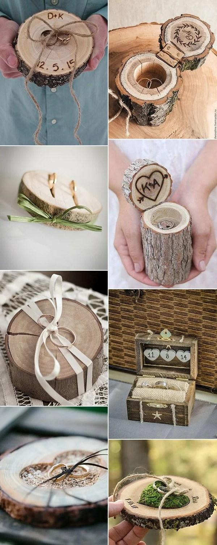 diy rustic wooden wedding ring pillows