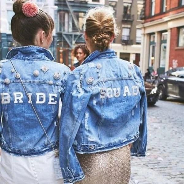 jean jackets for bride and bridesmaids  EmmaLovesWeddings
