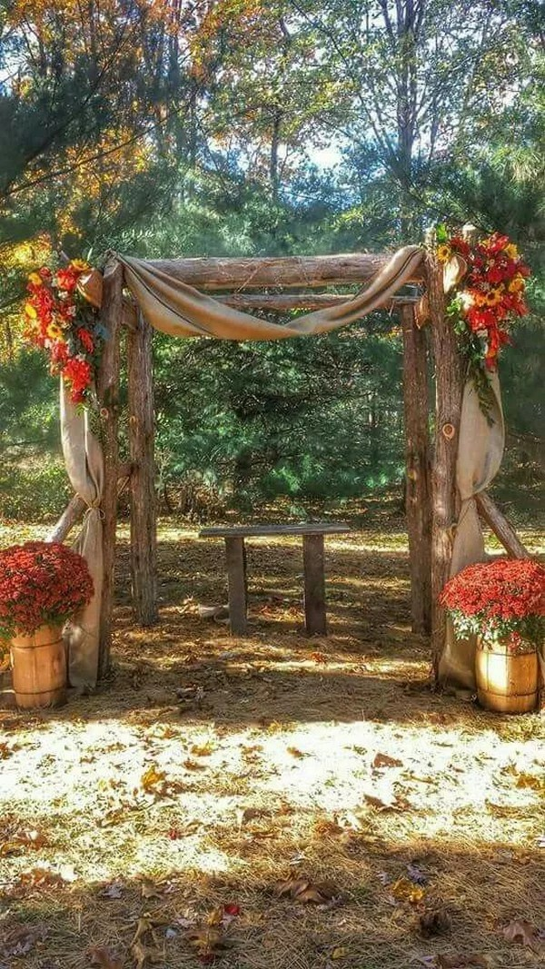 25 Gorgeous Fall Wedding Arches and Altars Ideas for Your
