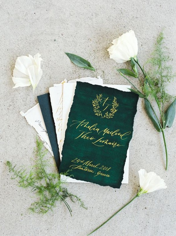 Green And White Gold Foil Wedding