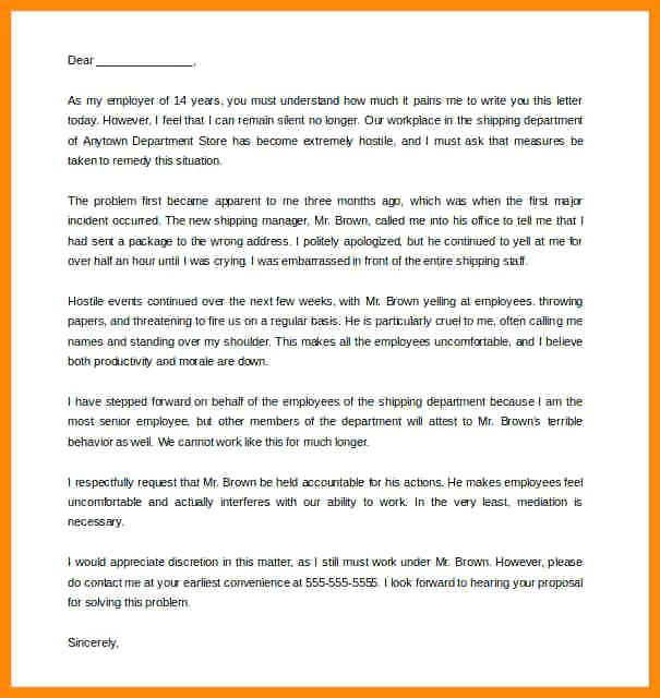 Hostile Workplace Complaint Letter
