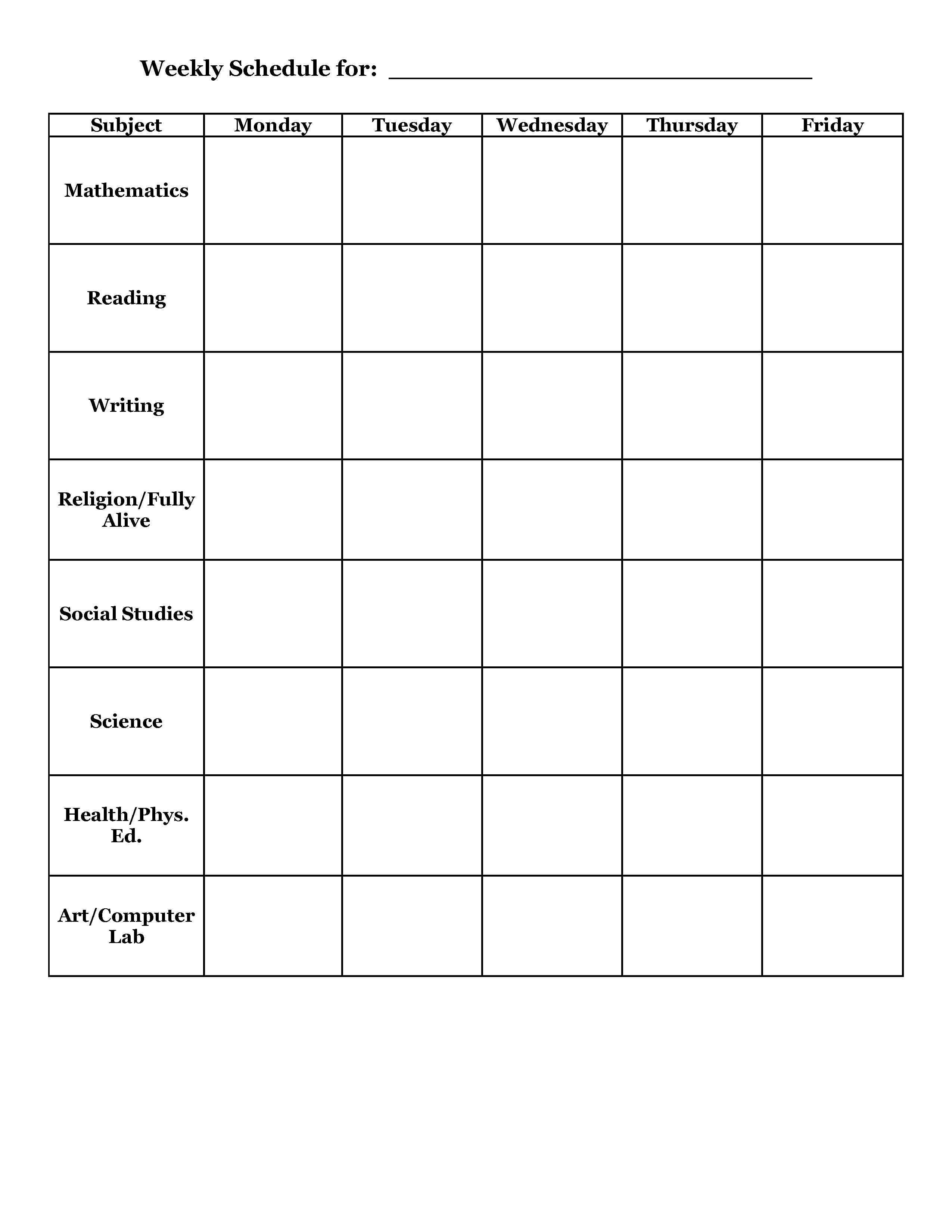School Scheduling Templates Emmamcintyrephotography