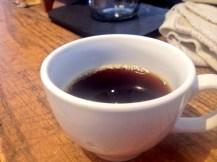 A hot cup of Copper Horse Coffee's clock tower espresso.