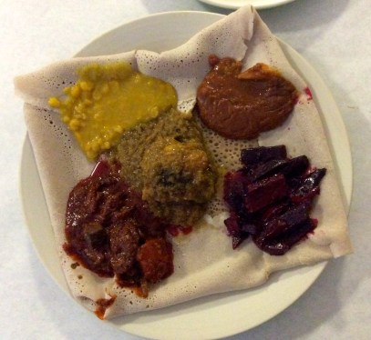 Traditional Ethiopian dishes, like this one, are meant for sharing with others.