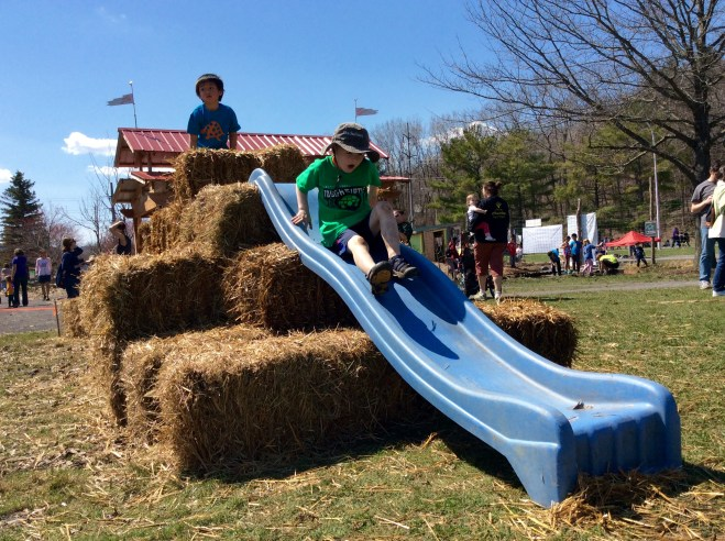 Junior racers climbed, hopped and slid their way to the finish line.