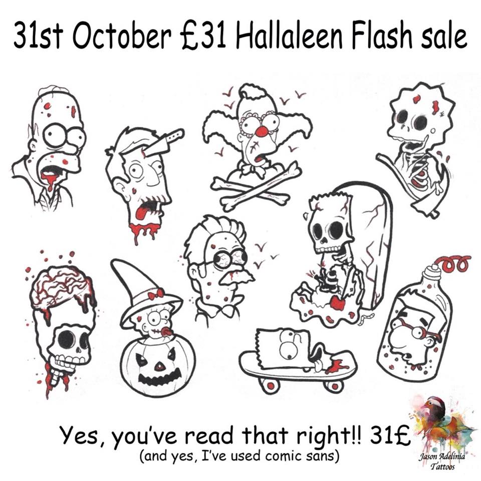 Horror Tattoo Flash Line Drawings