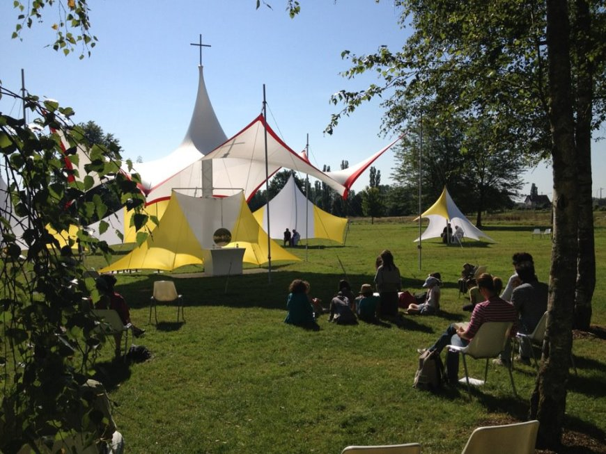 The 'Adoration tent' at the Emmanuel summer sessions in Paray-Le-Monial, France.