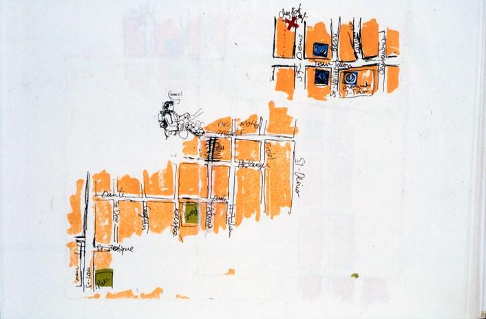 Au marché, dans le livre d'artiste Itinéraires, sérigraphie sur papier japonais, chine collé, 30 cm X 21 cm, 2004