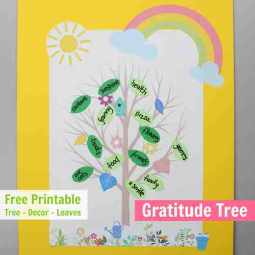 summer gratitude tree with free printable templates and decorations