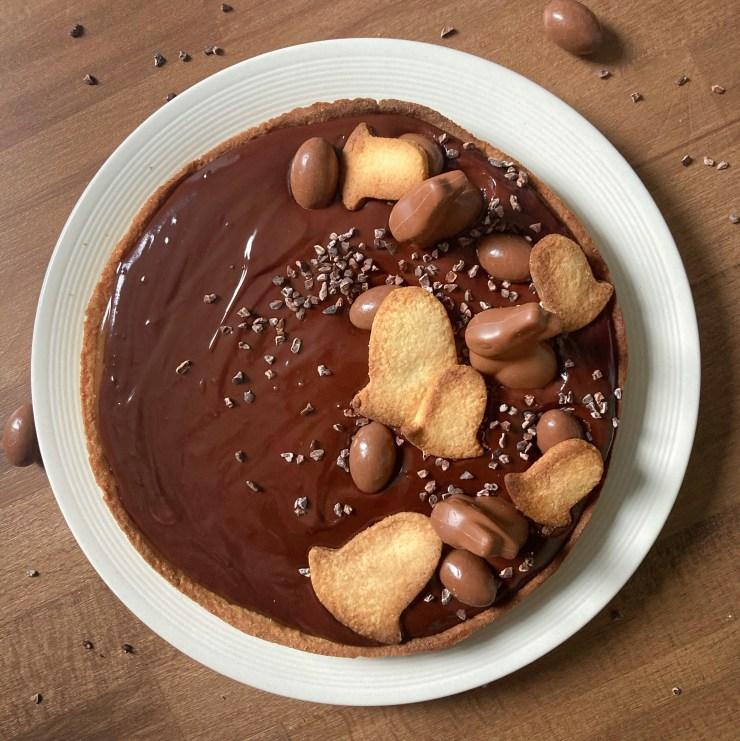 tarte chocolat caramel beurre salé pour Pâques