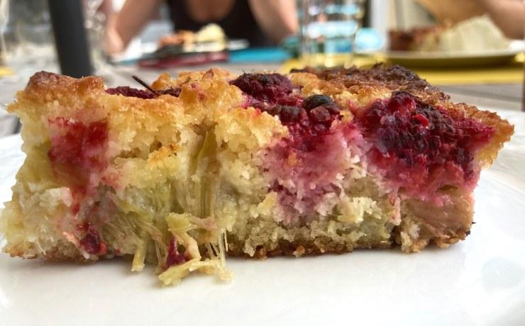 recette de gâteau coco framboise rhubarbe