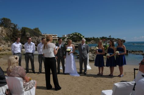 us on the beach being married