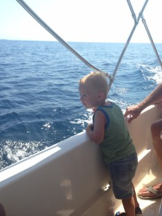 toddler on boat