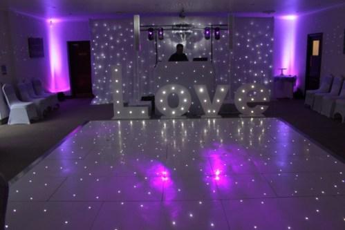 love sign at a wedding disco