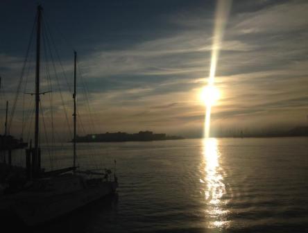 sunset at Gunwharf Quays across the sea