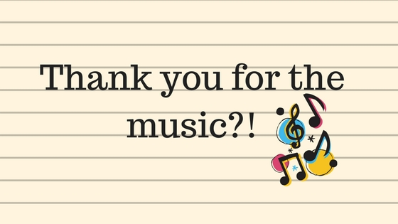 thank you for the music? text across lined paper