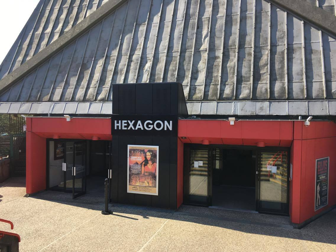 the front of the hexagon theatre