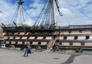 Mum and son by HMS Victory