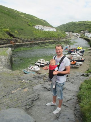 dad with child at harbour in Boscastle