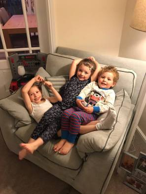 Children on the sofa