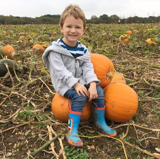 boy on pumpkins
