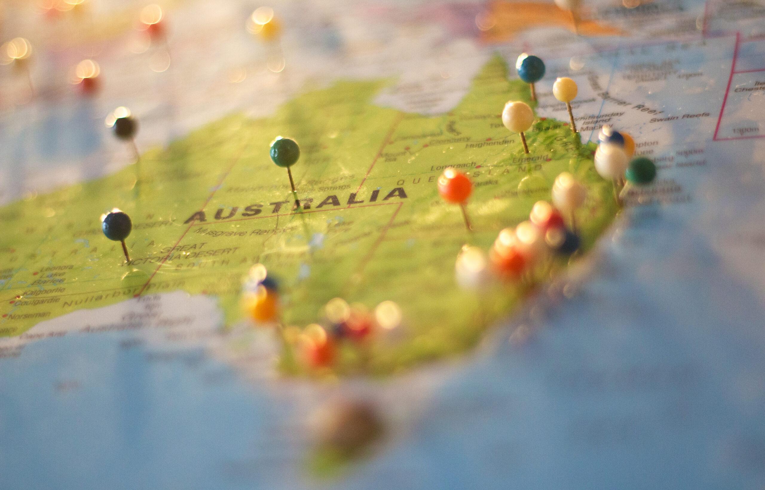 winter escape pins in a map of Australia