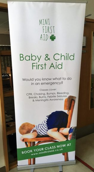 mini first aid information on a banner