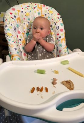 baby eating wearing a messy me bib
