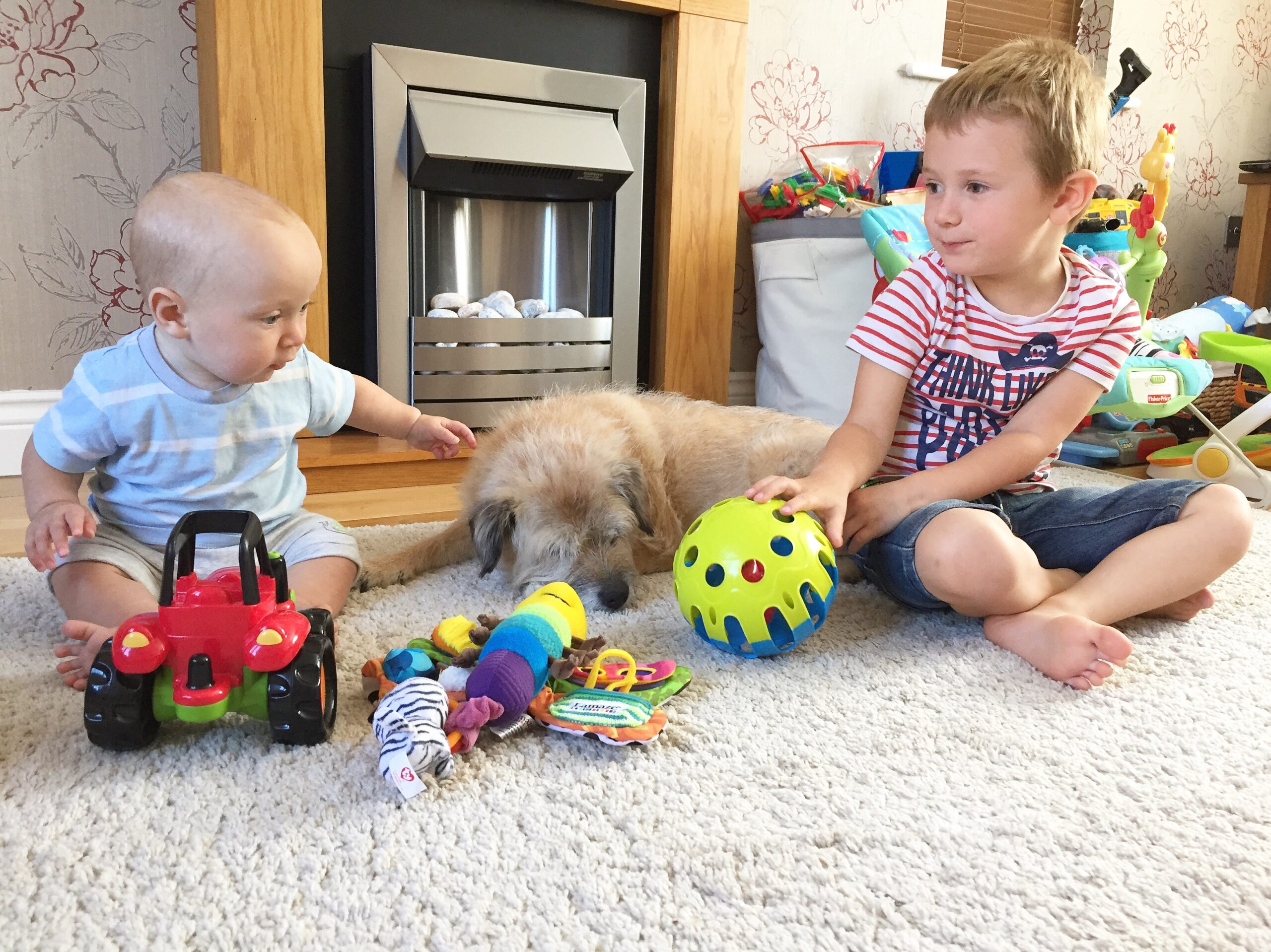 2 boys and a dog in a living room playing with toys
