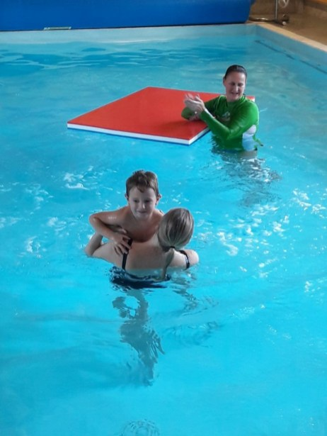 me and Jake in the pool