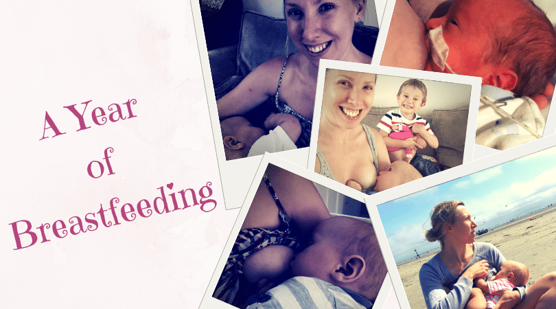 a year of breastfeeding with photos of me breastfeeding