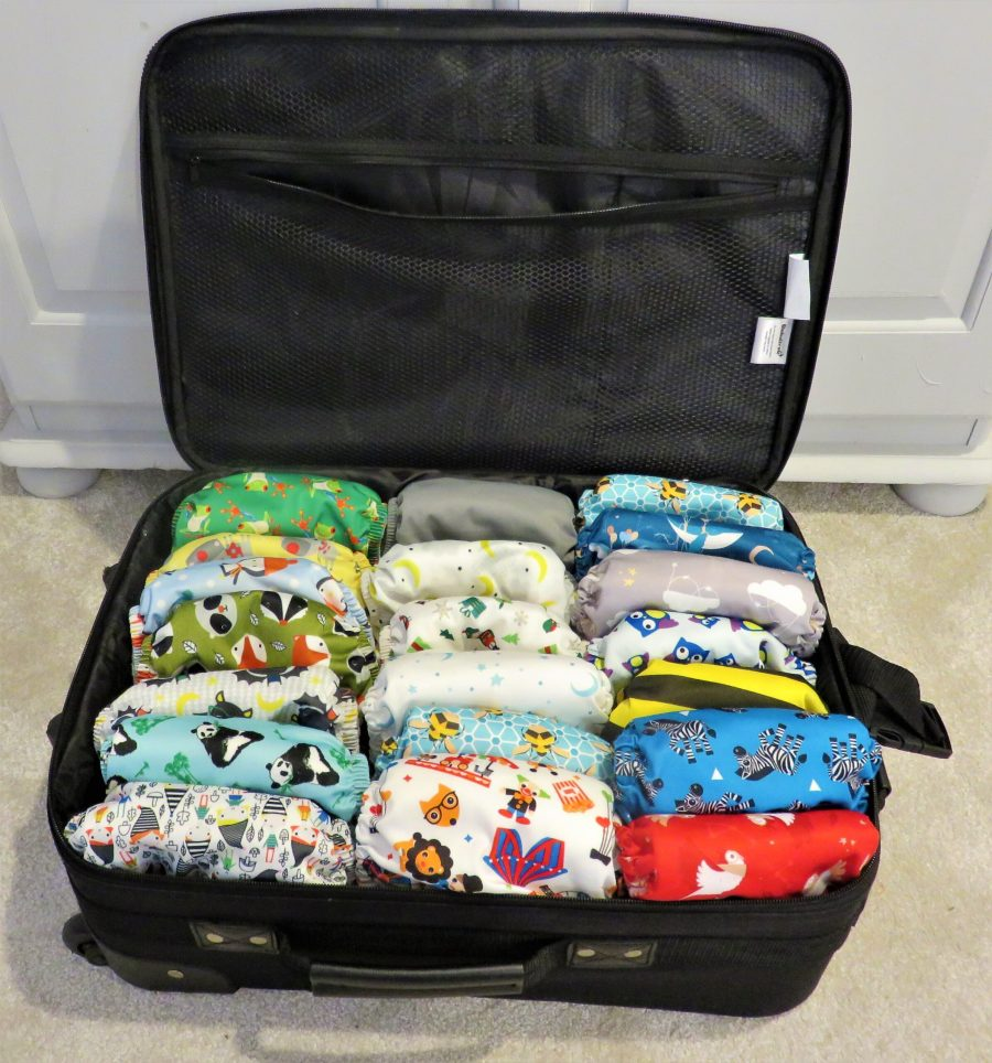 Suitcase full of reusable nappies