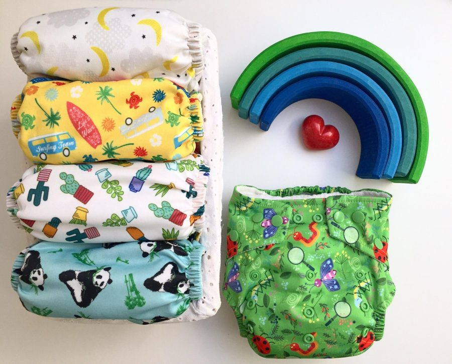 flatlay of cloth nappies