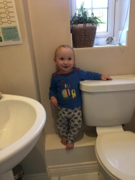 william climbing the toilet