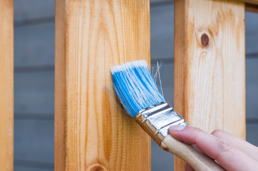 painting a fence doing home repairs