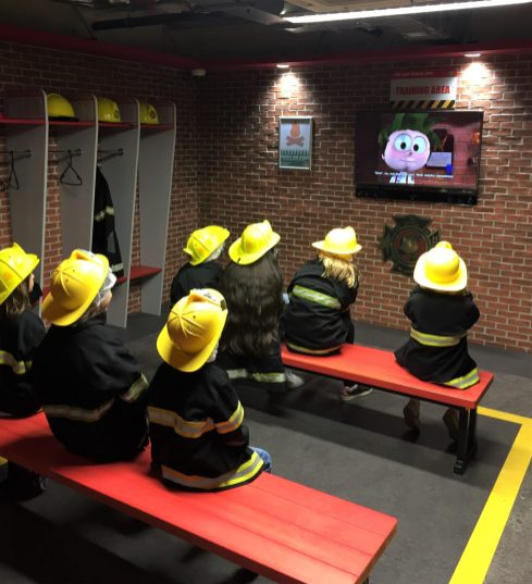 the children getting their fire training at kidzania