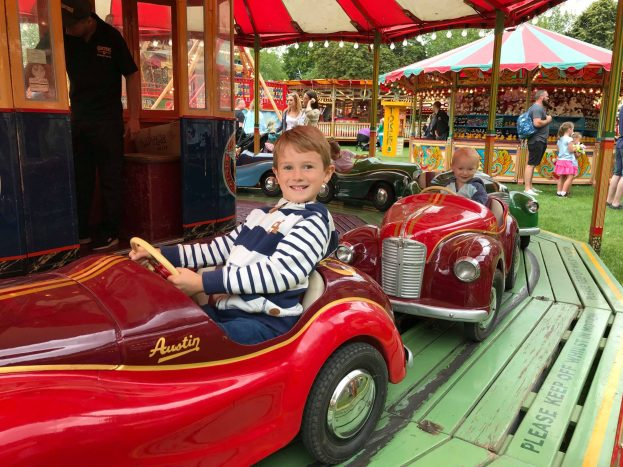 Jake and William on the vintage cars