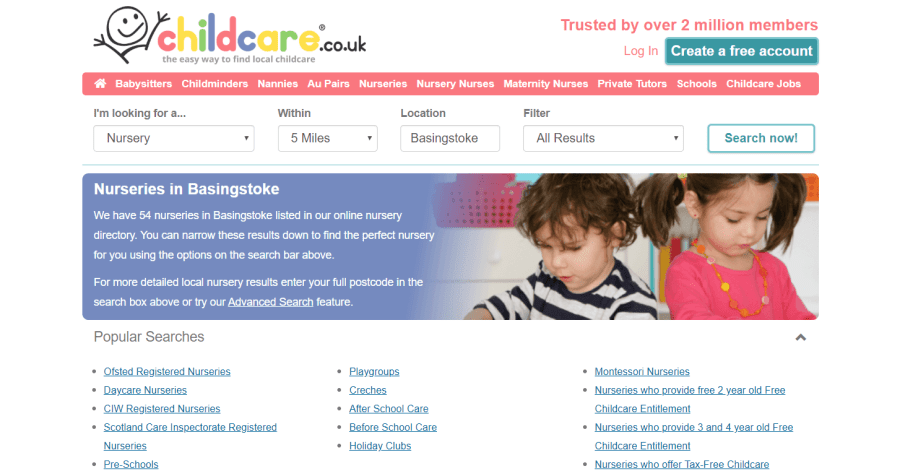 using the menu on the childcare website