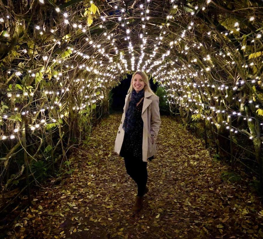 me in a tunnel of fairy lights