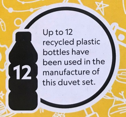 sign saying that up to 12 recycled plastic bottles have been used
