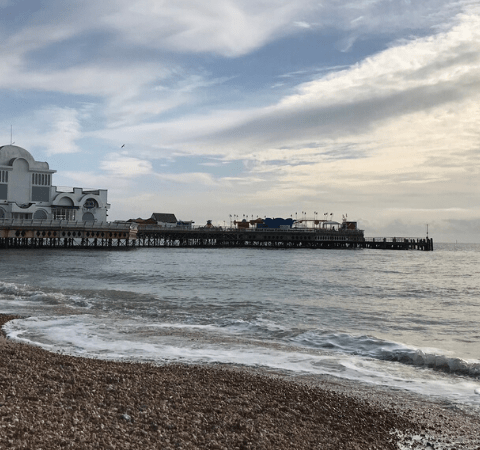 our weekend in Southsea a photo of the beach and the pier