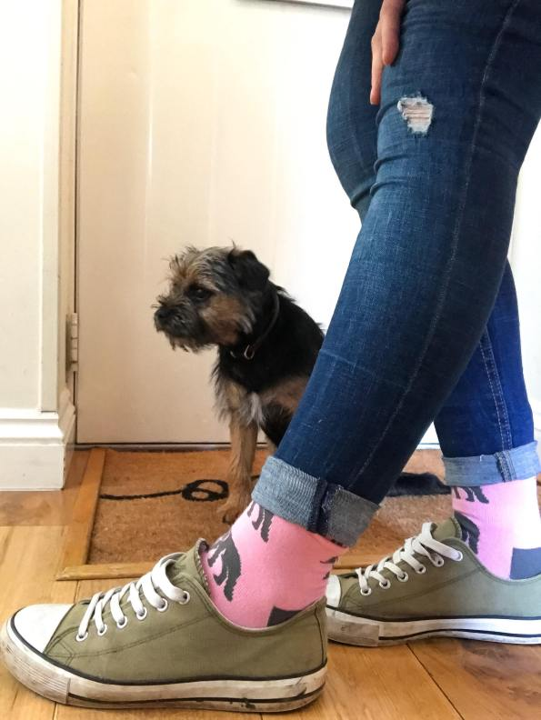 my feet in shoes showing the pink elephant socks with my puppy in the background