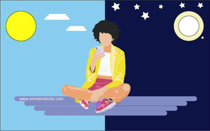 woman chatting with phone illustrator